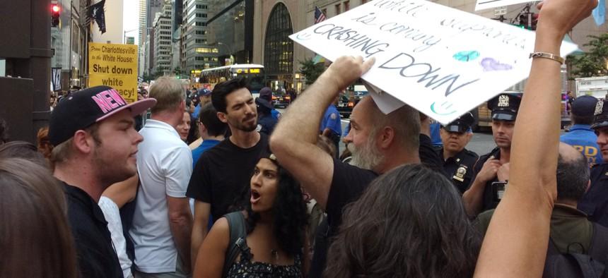Protestors argue in 2017 in New York.