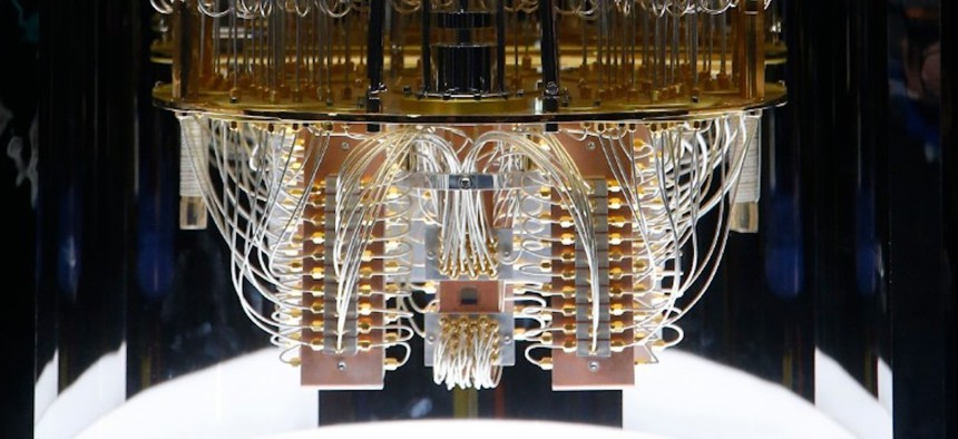 IBM unveils this quantum computer, Q System One, shown here during the CES tech show Wednesday, Jan. 8, 2020, in Las Vegas.