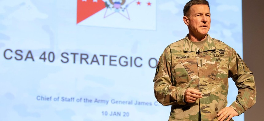 Army Chief of Staff Gen. McConville speaks at West Point in January 2020.