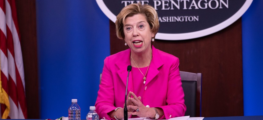 Undersecretary of Defense for Acquisition and Sustainment Ellen Lord holds a press briefing on August 20.