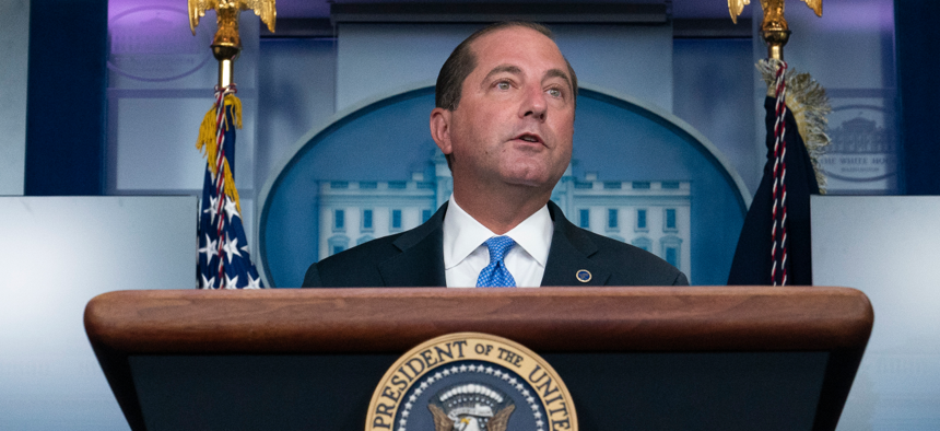 Health and Human Services Secretary Alex Azar speaks during a media briefing at the White House on Aug. 23.