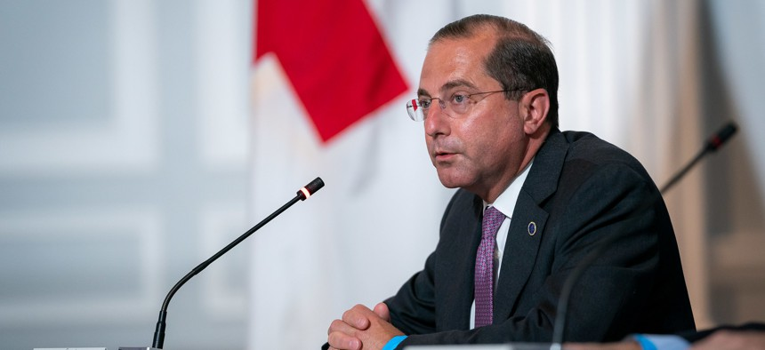 Secretary of Health and Human Services Alex Azar speaks in Washington in July.