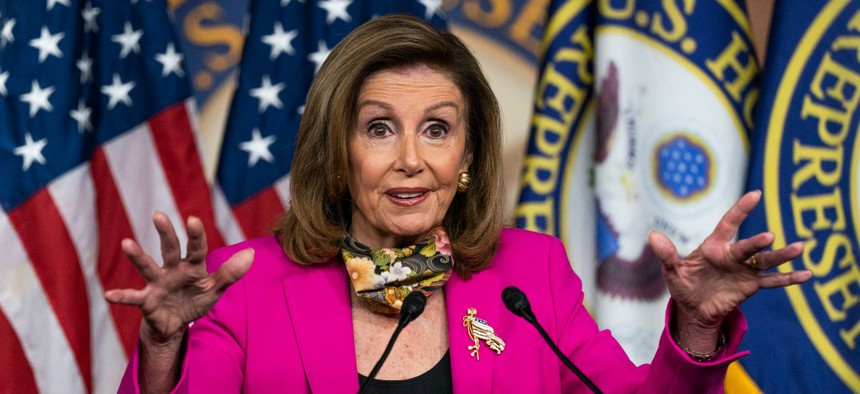 House Speaker Nancy Pelosi speaks during a news conference on Capitol Hill on Friday.
