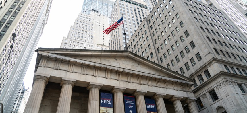 Birthplace of American government: George Washington took the oath of office as the first U.S. president at Federal Hall on Wall Street in New York City.