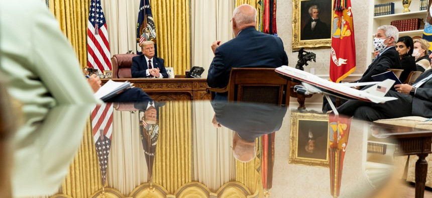 President Trump, joined by Vice President Mike Pence and members of the White House Coronavirus Task Force, participates in a coronavirus update briefing on August 4.