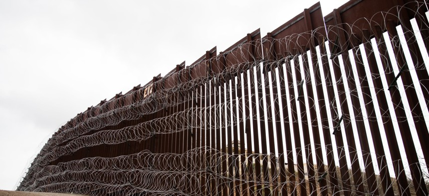 The border wall is shown near Nogales, AZ in 2019.