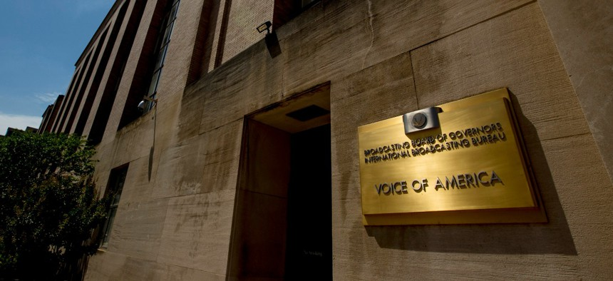 """The Voice of America building stands in Washington in June. VOA is part of the U.S. Agency for Global Media and the """"firewall"""" was first enacted in Voice of America's charter in 1976."""