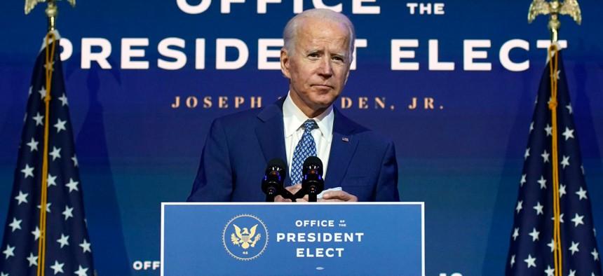President-elect Biden speaks Monday at The Queen theater in Wilmington, Del.