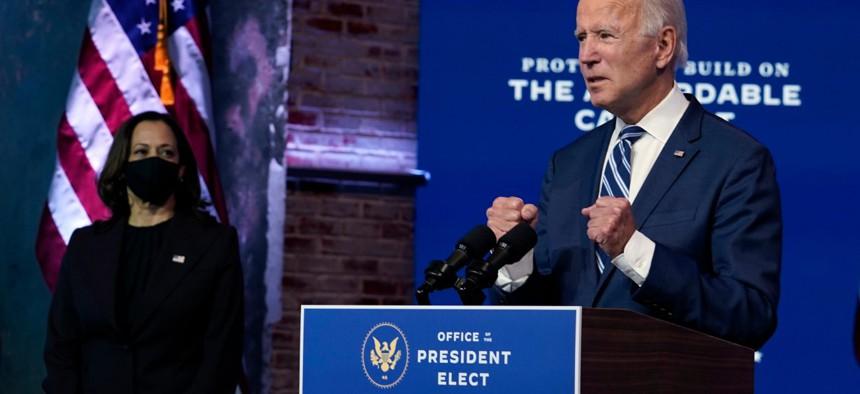 President-elect Joe Biden speaks Tuesday at The Queen theater in Wilmington, Del.