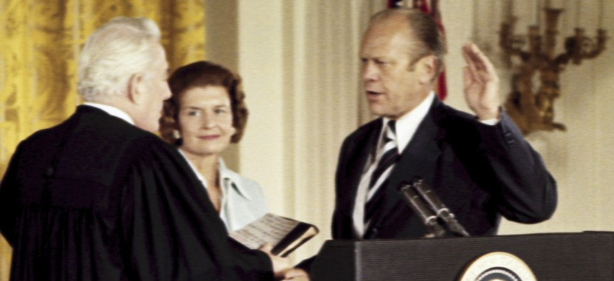Gerald Ford has approximately 25 hours of transition between himself and his predecessor, President Richard Nixon.
