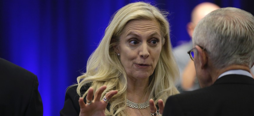 Federal Reserve Board Governor Lael Brainard participates in a conference involving its review of its interest-rate policy strategy and communications, Tuesday, June 4, 2019, in Chicago.
