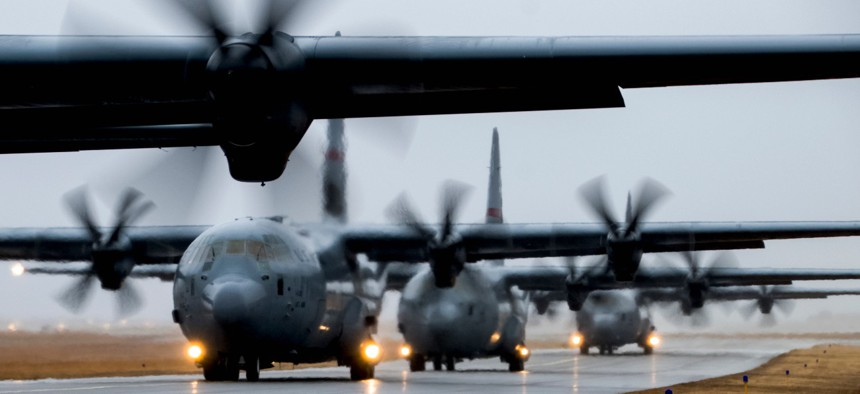 Four C130J Super Hercules depart Quonset Air National Guard base for an Operations Off-Station Trainer on Feb. 6, 2020, in North Kingstown, R.I.