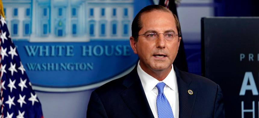 HHS Secretary Alex Azar speaks during a news conference on Nov. 20. Azar said the new HHS policy will help citizens provide feedback on new rules.