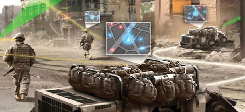 By 2025, the Army sees ground troops conducting foot patrols in urban terrain with robots—called Squad Multipurpose Equipment Transport vehicles—that carry rucksacks and other equipment.