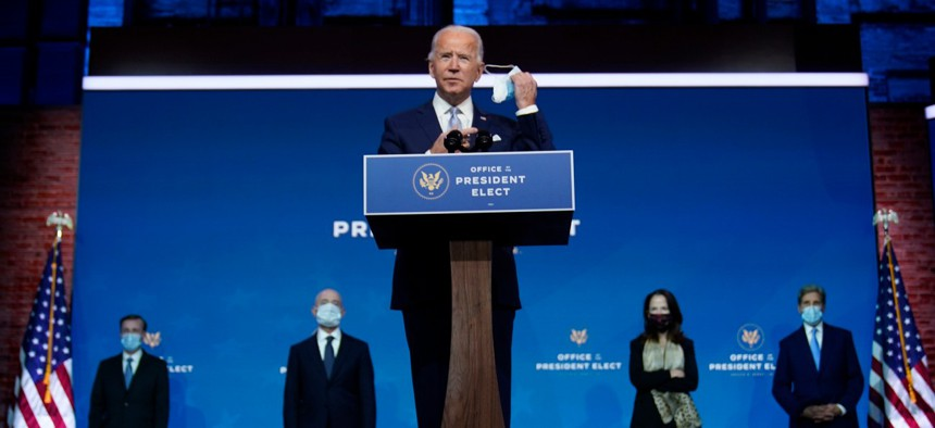 President-elect Biden introduces his nominees and appointees to key national security and foreign policy posts at The Queen theater, Tuesday, Nov. 24, 2020, in Wilmington, Delaware.