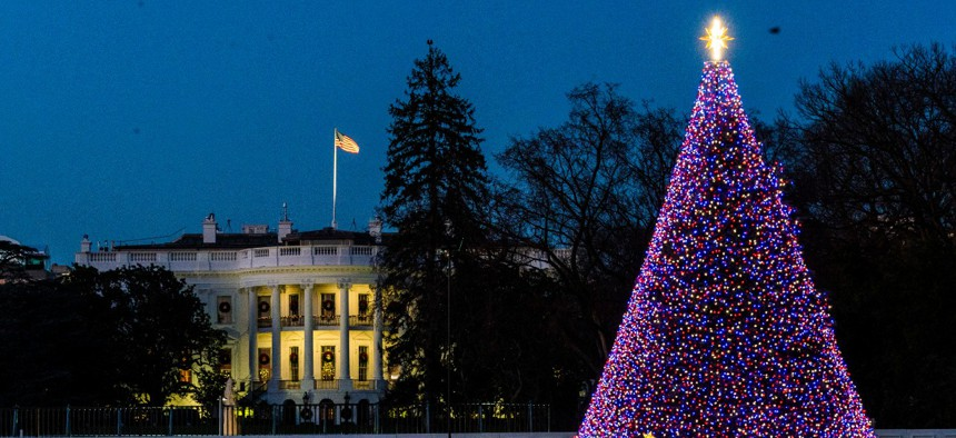 The National Christmas Tree is lit on the Ellipse near the White House on Dec. 2.