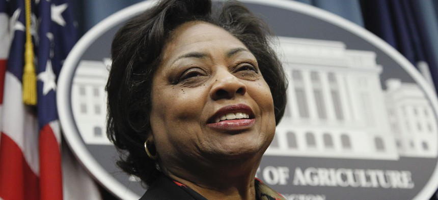 Shirley Sherrod, speaks during a news conference at the Agriculture Department in 2010.