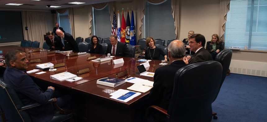 Then-Defense Secretary Mark T. Esper hosts the Defense Business Board Quarterly Meeting at the Pentagon, Washington, D.C., Nov. 6, 2019.
