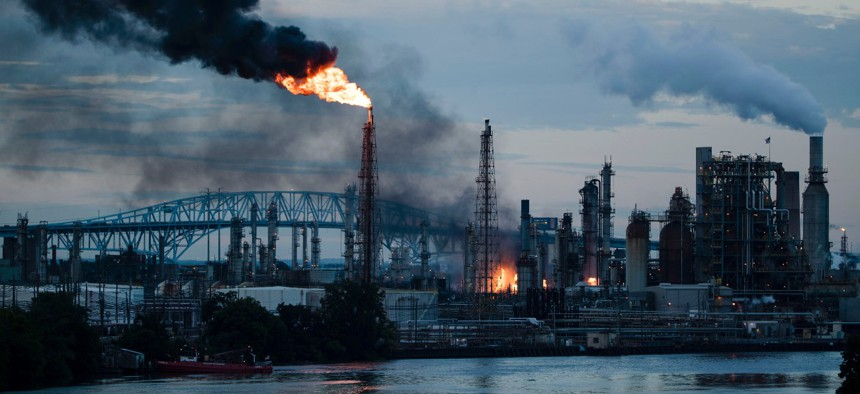 Flames and smoke emerge from the Philadelphia Energy Solutions Refining Complex in Philadelphia on June 21, 2019. CSB investigated the explosion.