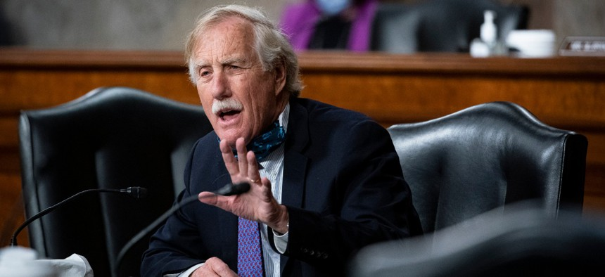 Sen. Angus King, I-Maine, speaks during a Senate Armed Services Committee hearing in May.