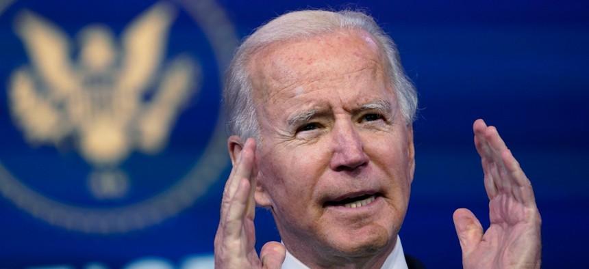President-elect Joe Biden speaks at The Queen theater in Wilmington, Del., on Wednesday.