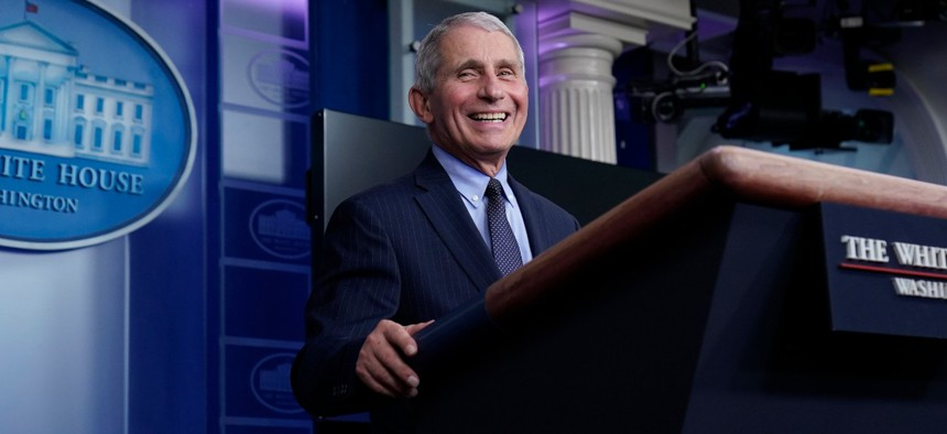 Dr. Anthony Fauci, director of the National Institute of Allergy and Infectious Diseases, laughs while speaking in the James Brady Press Briefing Room at the White House on Jan. 21.