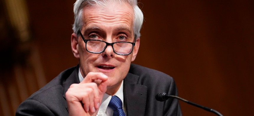 Secretary of Veterans Affairs nominee Denis McDonough speaks during his confirmation hearing before the Senate Committee on Veterans' Affairs on Capitol Hill, Wednesday, Jan. 27.