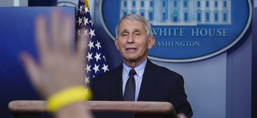 Fauci takes questions at the White House on Jan. 21.