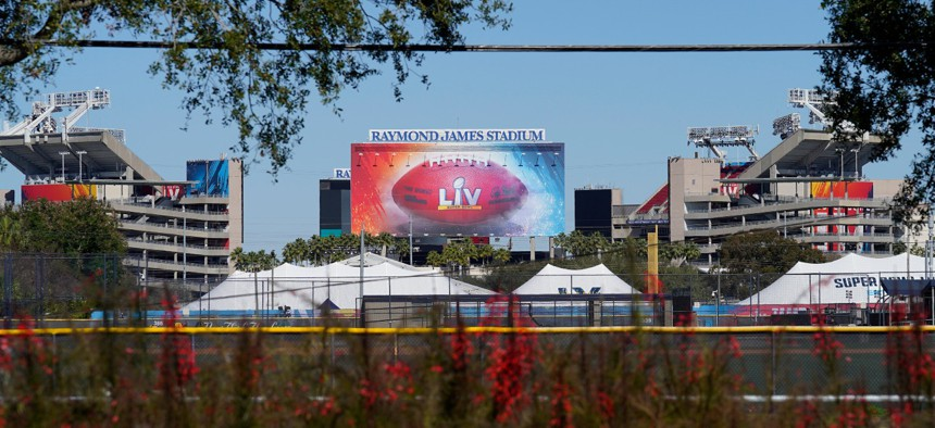 Raymond James Stadium in Tampa, Fla., the site of NFL football Super Bowl LV, is shown on Jan. 28.