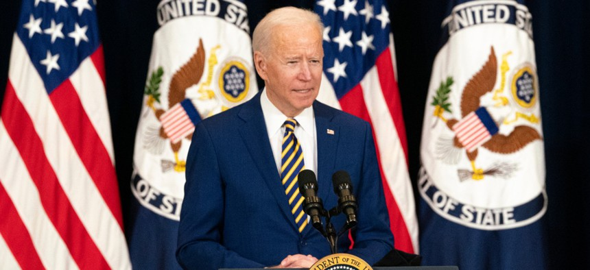 President Biden delivers remarks to State Department employees on Thursday.