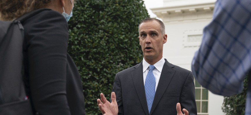 Corey Lewandowski, former campaign manager for President Donald Trump, speaks with reporters at the White House in September.