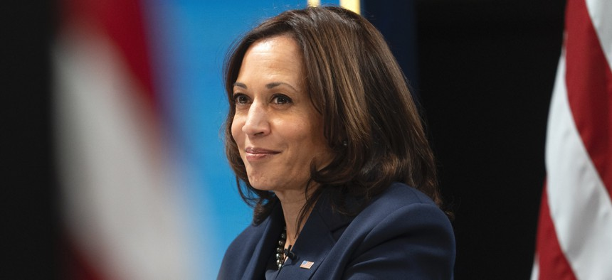 Vice President Kamala Harris attends a virtual meeting with mayors from the African American Mayors Association on Wednesday.