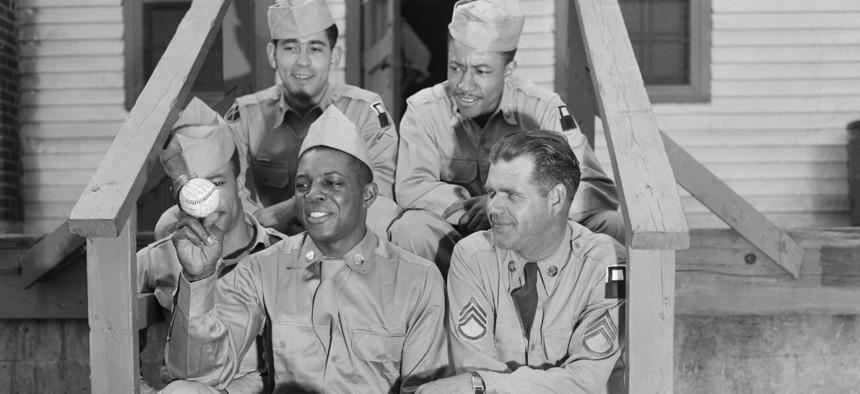 Pvt. Willie Mays in a photo staged shortly after his induction into the Army