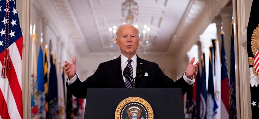 President Biden speaks about the COVID-19 pandemic during a prime-time address from the East Room of the White House on Thursday evening.