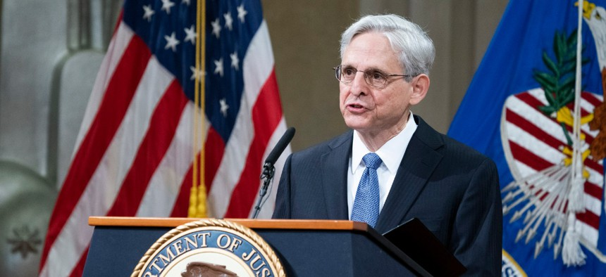 Attorney General Merrick Garland addresses staff on his first day at the Justice Department on Thursday.
