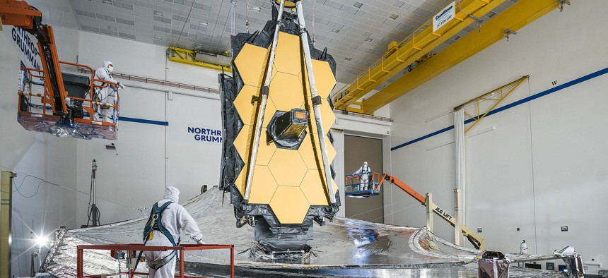 Shown fully deployed with all five of its layers tensioned, this is the last time the James Webb Space Telescope's sunshield will be completely unfurled on Earth.
