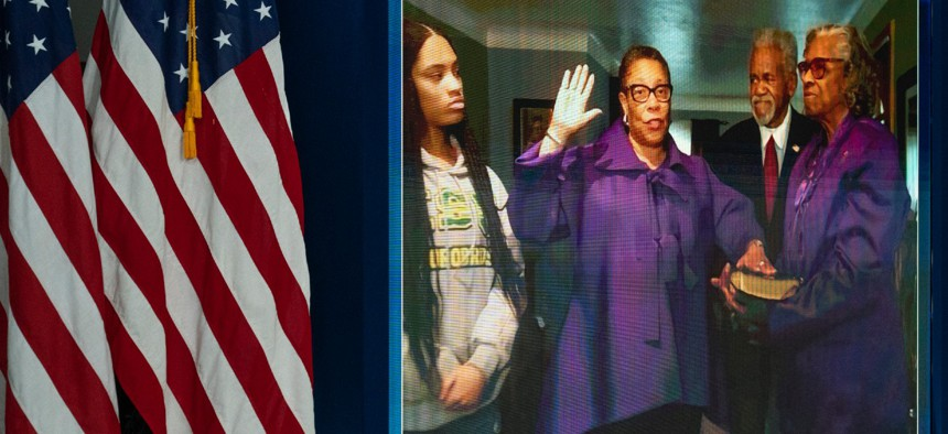 Housing and Urban Development Department Sec. Marcia Fudge is ceremonially sworn-in by Vice President Kamala Harris, during a virtual ceremony at the Eisenhower Executive Office Building on the White House complex on March 10.