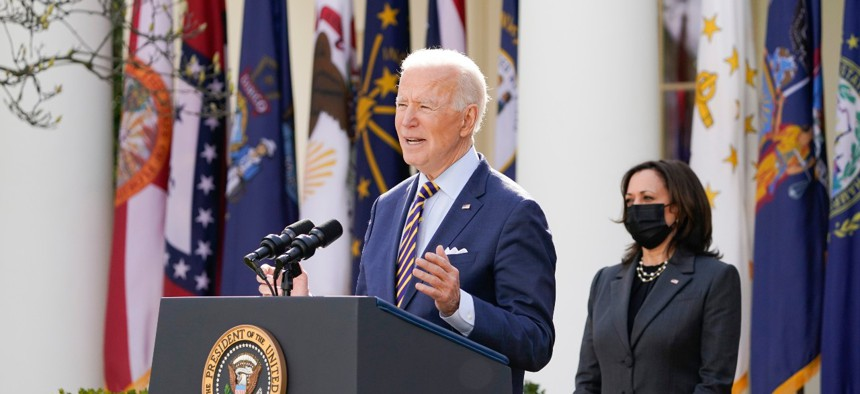 President Joe Biden speaks about the American Rescue Plan, a coronavirus relief package, in the Rose Garden of the White House on March 12.