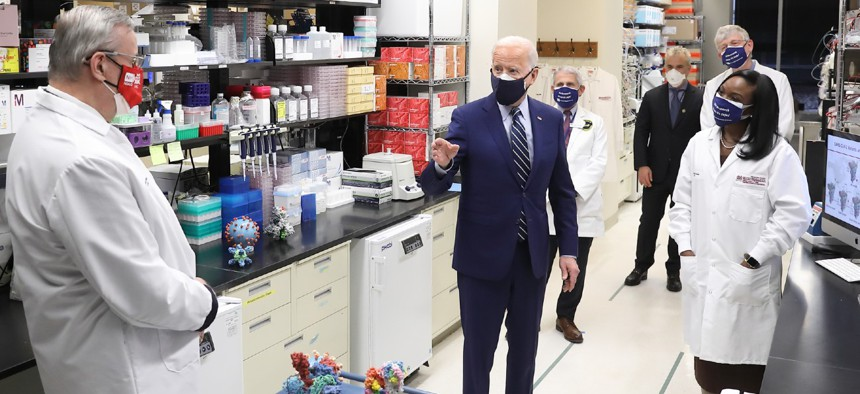 President Biden visits NIH to meet with leading researchers at the Vaccine Research Center to learn more about the groundbreaking fundamental research that enabled the development of the Moderna and Pfizer COVID-19 vaccines.