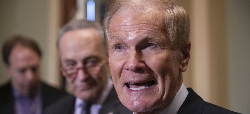 Bill Nelson attends a news conference at the Capitol in 2018.