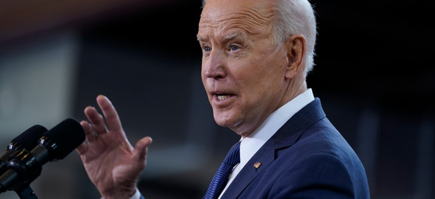 President Biden delivers a speech on infrastructure spending at Carpenters Pittsburgh Training Center on March 31, 2021, in Pittsburgh.
