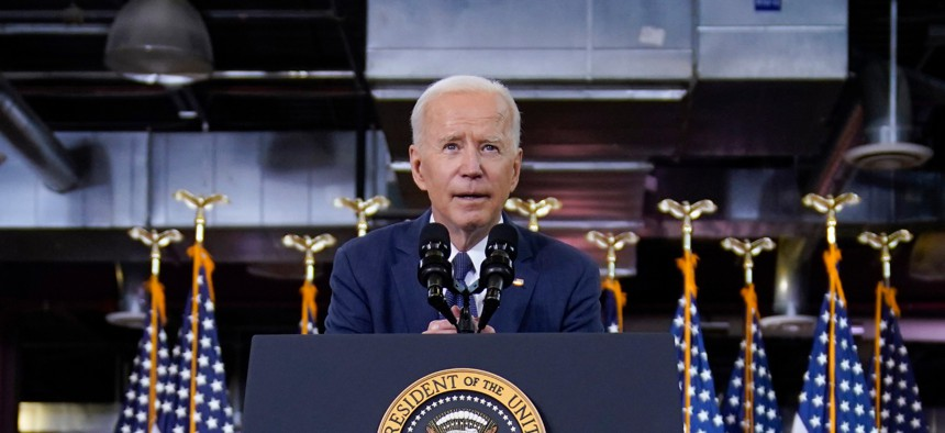 Biden spoke about the plan at Carpenters Pittsburgh Training Center on Wednesday.
