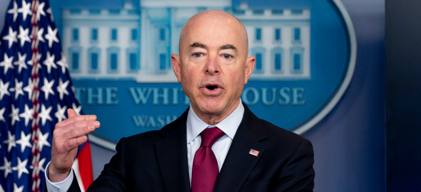 Homeland Security Secretary Alejandro Mayorkas speaks during a press briefing at the White House.