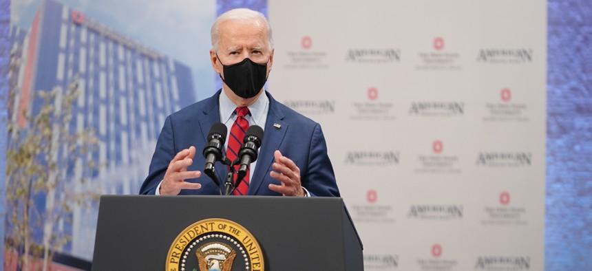 Biden speaks in Columbus in March.