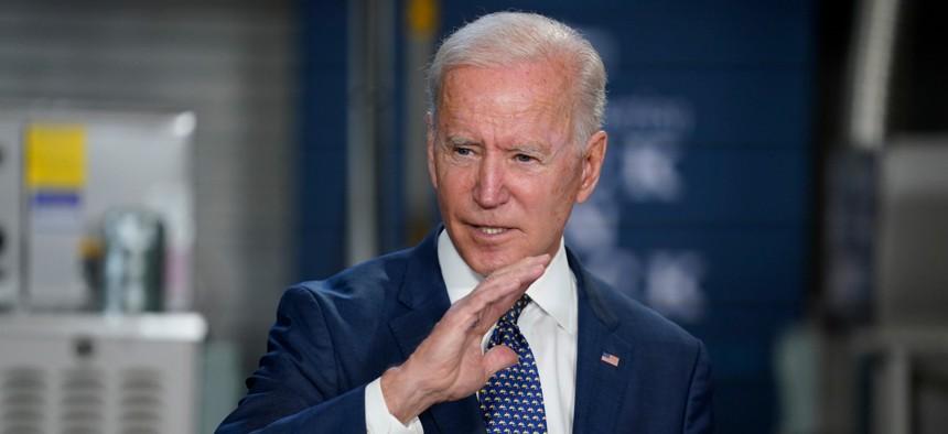 President Joe Biden speaks at Tidewater Community College on Monday.