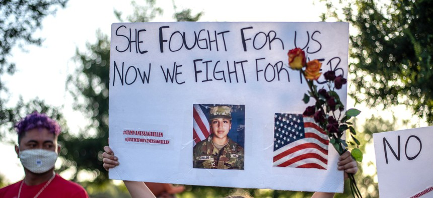 Protesters gather at a march and vigil for murdered Army Spec. Vanessa Guillen on July 12, 2020 in Austin, Texas.