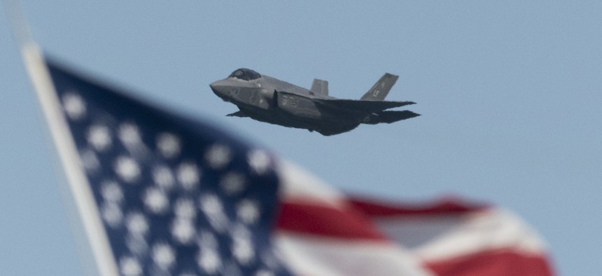 U.S. Air Force Lockheed Martin F-35 Lightning stealth fighter flies over the San Francisco Bay in San Francisco, California on October 13, 2019.