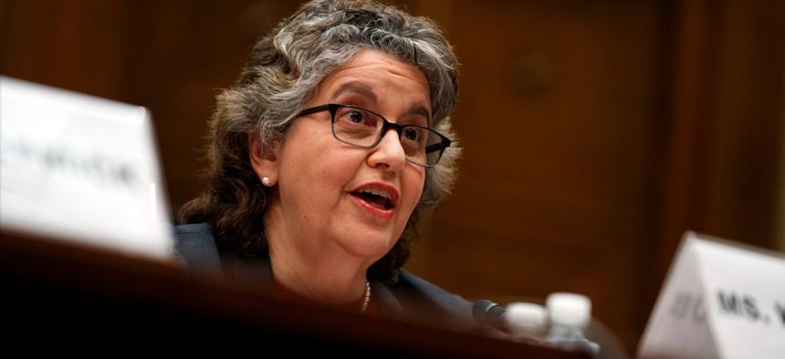 Federal Election Commission member Ellen Weintraub testifies on Capitol Hill in Washington in 2019.