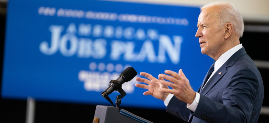 President Biden promotes his American Jobs Plan at an event in Pittsburgh on March 31.