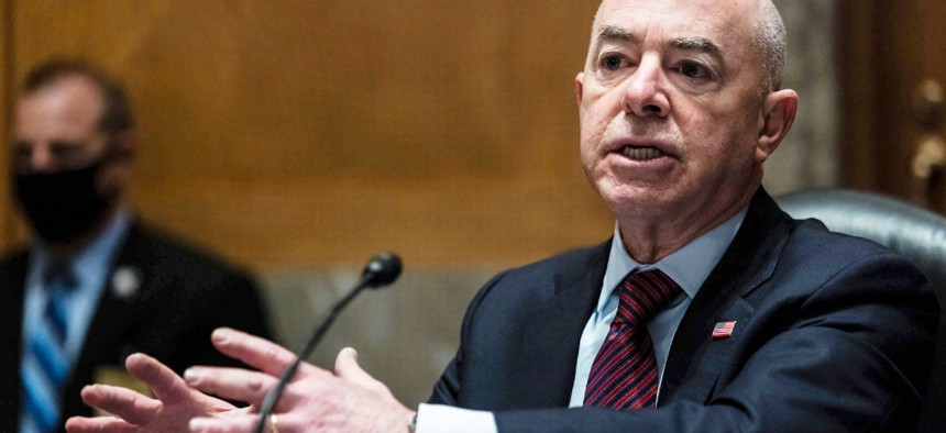 Homeland Security Secretary Alejandro Mayorkas testifies before a Senate Homeland Security and Governmental Affairs Committee hearing on Thursday.